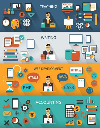 Flat design. Freelance jobs infographic with long shadows. Çizim