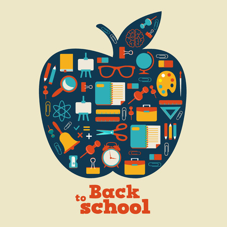 art school: Back to school - background with apple and icons Illustration