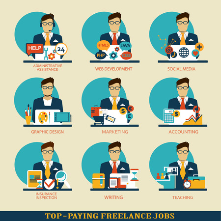 Set of freelance career icons.