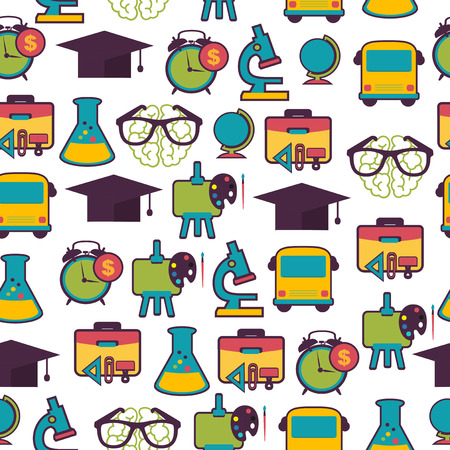 School pattern with colorful icons Vector