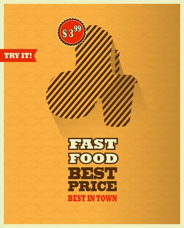 prepared potato: Fast food menu poster with long shadow. Illustration