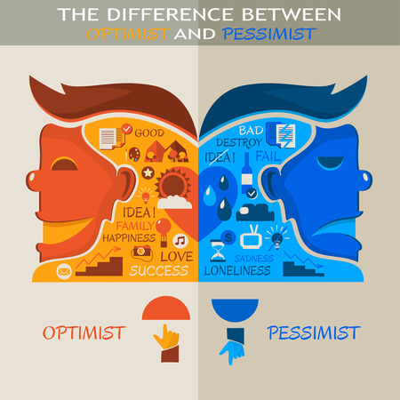 The difference between optimist and pessimist Vector