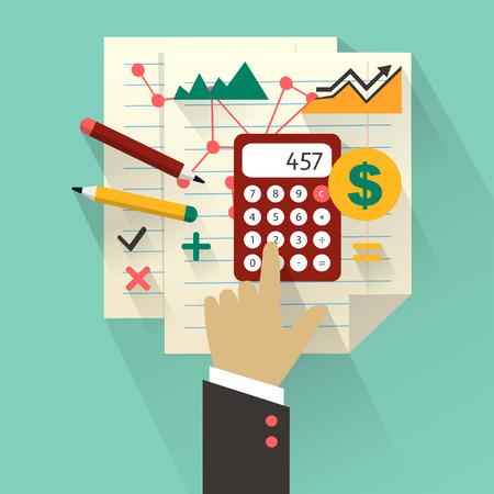 contabilidad financiera: Piso concepto de diseño de negocios con la mano Vectores
