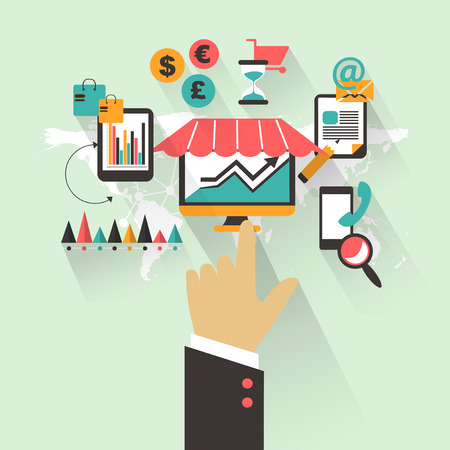 cms: Flat design Business concept with hand Illustration