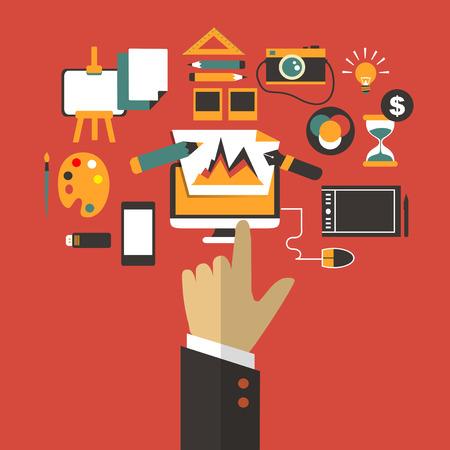 freelancer: Flat design Business concept with hand Illustration