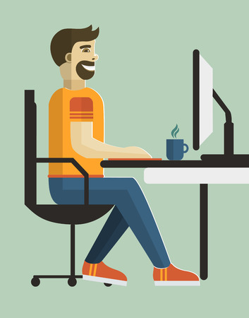 freelancer: Self employed man in home office.