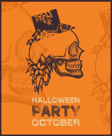 Halloween party poster with skull. Vector