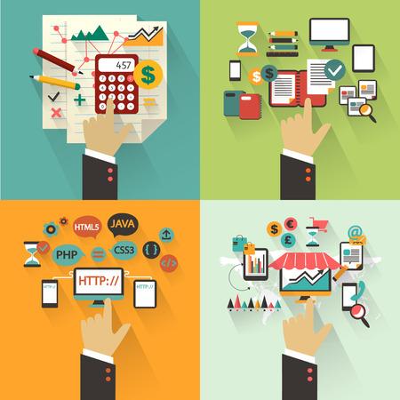 Business administration: Dise�o Conjunto plana del concepto de negocio con las manos.
