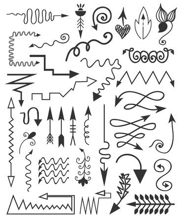 Vector hand drawn arrows. Vector