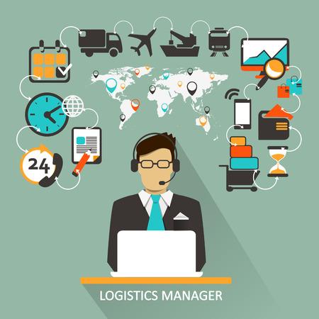 hombres ejecutivos: Gerente de Log�stica. Infograf�a Freelance.