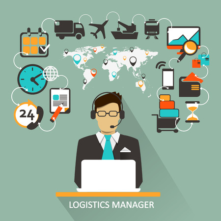 business connection: Logistics Manager. Freelance infographic.