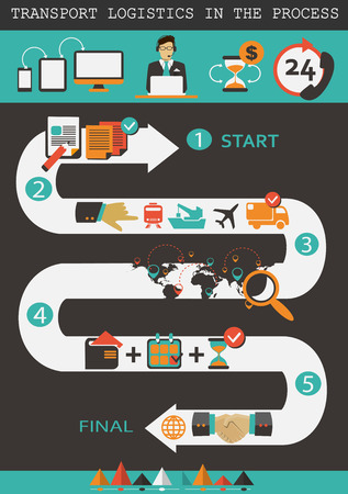 Logistics infographic elements. Transport logistics in the process. Vector