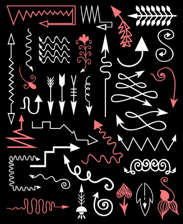 Hand drawn elements on a black background Vector
