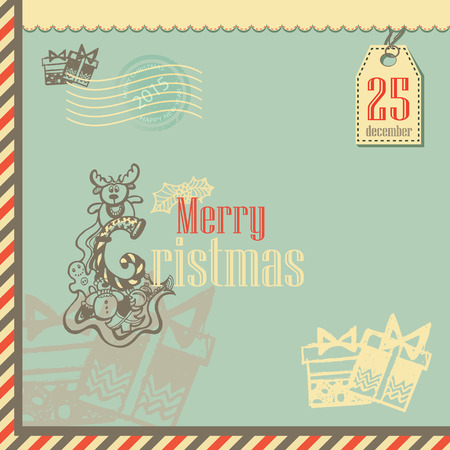 hollies: Christmas Vintage Greeting Card with Typography.