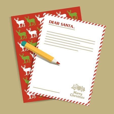 cartas antiguas: Carta de la Navidad a Santa Claus. Ilustraci�n vectorial