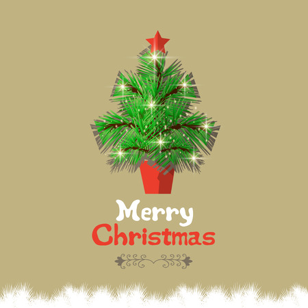 Christmas tree with calligraphic and typographic design Vector