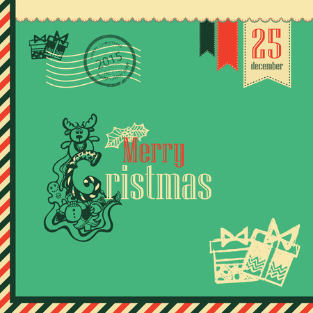 hollies: Christmas Vintage Greeting Card with Typography