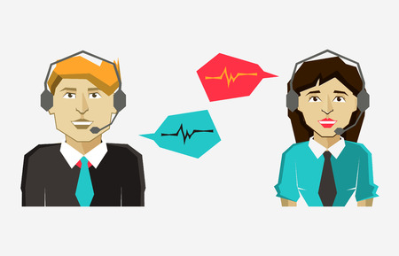 verbal: Male and female call center avatar icons with speech bubbles.