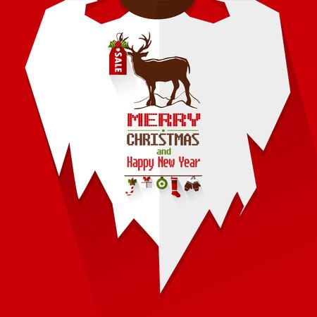 new year poster: Santa Beard and Happy New Year poster. Illustration