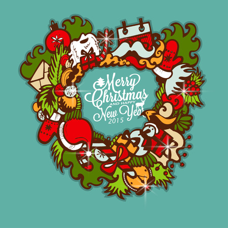 Christmas wreath with gifts. Vector Illustration. Vector