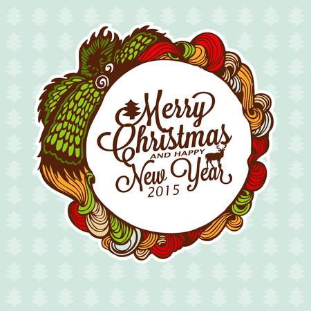 Christmas doodle wreath with gifts. Vector Illustration. Vector