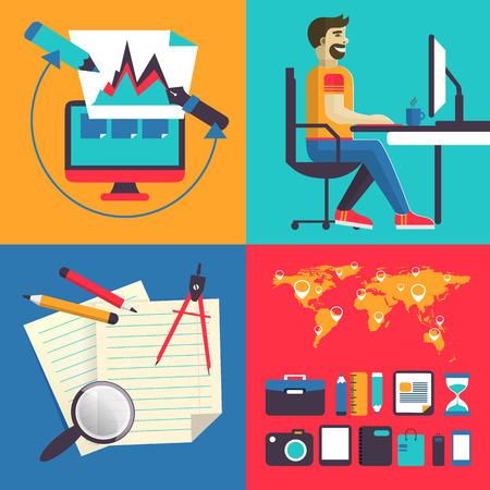 freelance: Concept of set elements freelance. Illustration