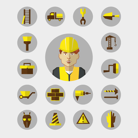 auger: Construction icons set with worker Illustration