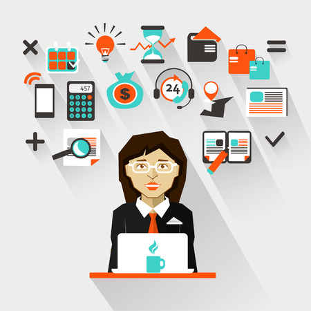 business teamwork: Flat design. Businesswoman Illustration