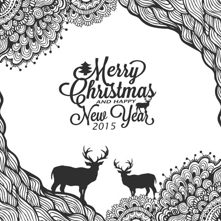 Christmas and happy new year doodle sketch with typography