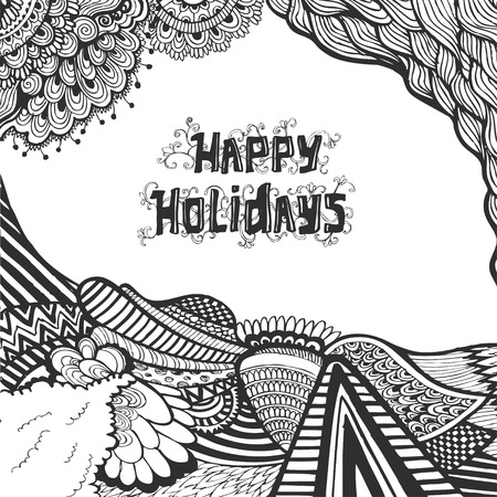 Christmas and happy new year doodle sketch with typography Vector