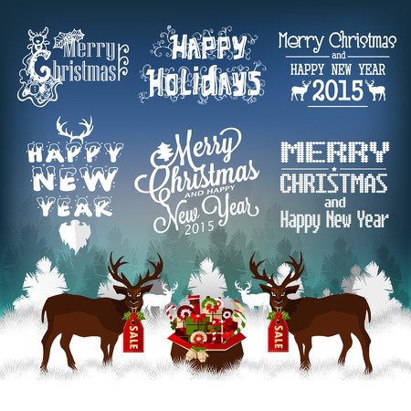 Hand Drawn Christmas And New Year Decoration Set Of Calligraphic And Typographic Design Vector