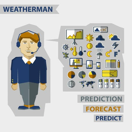 meteorologist: Weatherman with infographic elements on a light background