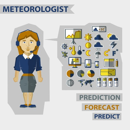 meteorologist: Meteorologist  with infographic elements on a light background