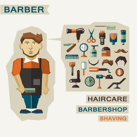 Barber with infographic elements on a light background Vector