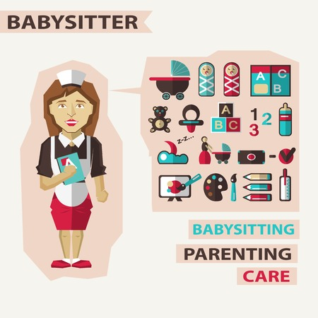 babysit: Babysitter with infographic elements on a light background Illustration