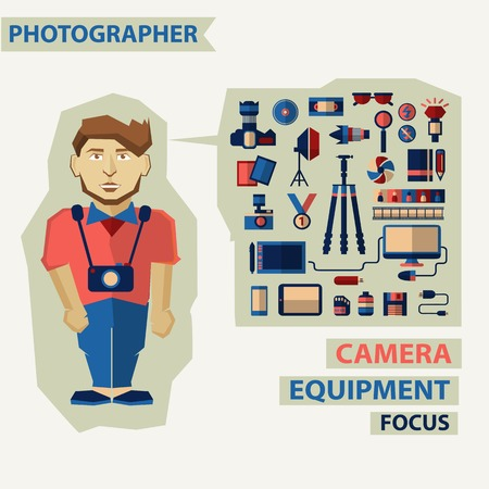 Photographer with infographic elements on a light background Vector
