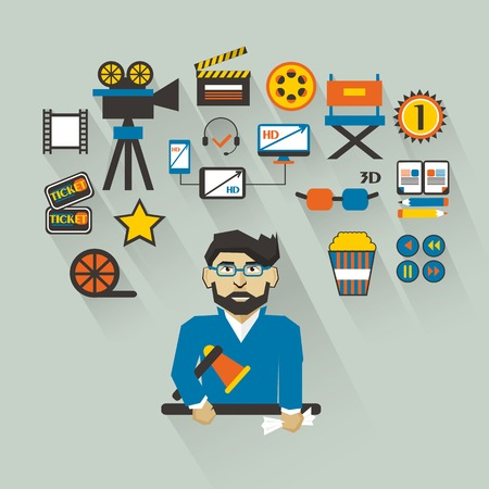 Filmmaker with infographic elements on a light background