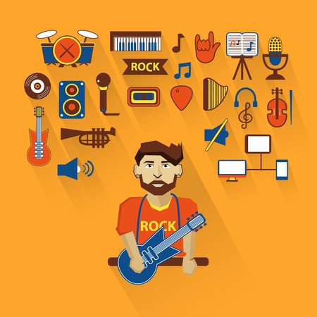 Musician with infographic elements on a light background Vector