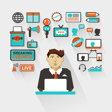 newsreader: Anchorman with infographic elements on a light background Illustration