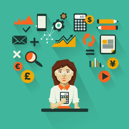 Accountant woman with infographic elements on a dark background 일러스트