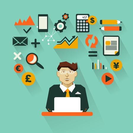 contabilidad financiera cuentas: Contador con elementos infográficos sobre un fondo oscuro