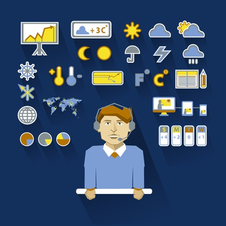 Weatherman with infographic elements on a light background Vector