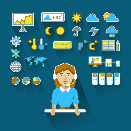 day forecast: Meteorologist  with infographic elements on a light background