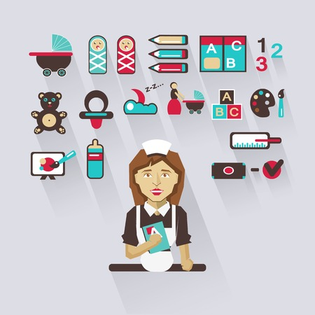 nanny: Babysitter with infographic elements on a light background Illustration