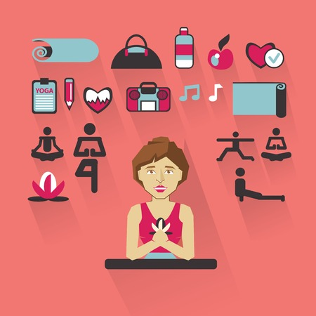 the instructor: Yoga instructor with infographic elements on a light background