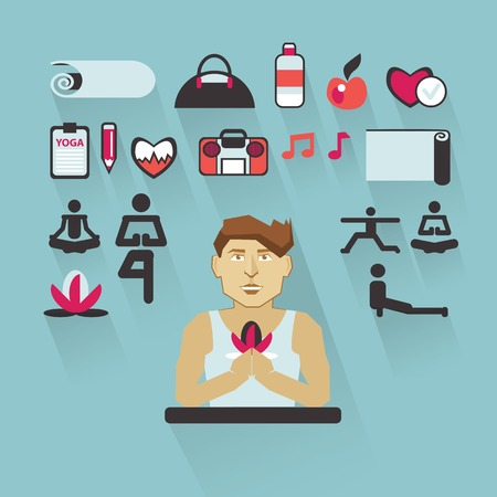 fitness instructor: Yoga instructor with infographic elements on a light background