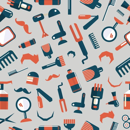 set of men hair styling: Barber shop seamless pattern on a gray background