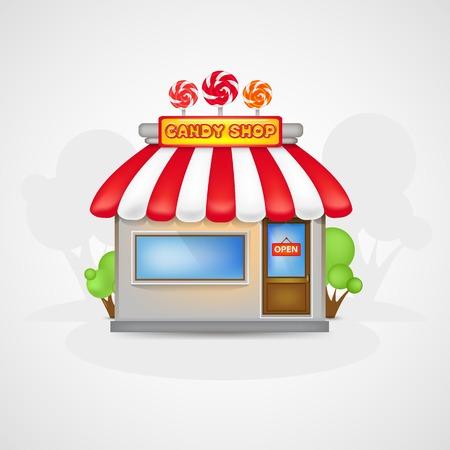 Cute Candy shop icon on a landscape Çizim