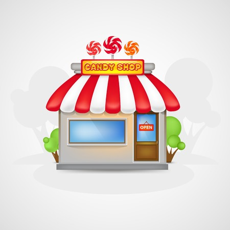 Cute Candy shop icon on a landscape Illustration