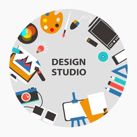 design studio: Design studio emblem on a light background